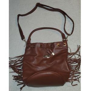 Brown fringe adjustable purse